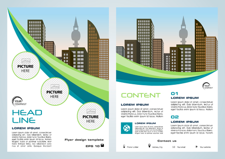 Vector flyer, corporate business, annual report, brochure design and cover presentation with green and blue lines. Illustration
