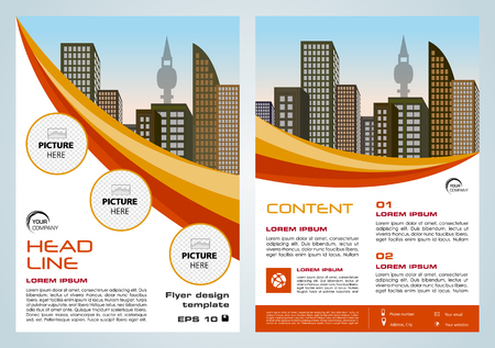 Vector flyer, corporate business, annual report, brochure design and cover presentation with yellow and red lines. Ilustração