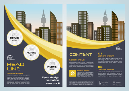 Vector corporate business, annual report, brochure design and cover presentation with dark blue and yellow lines. Stock Illustratie