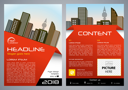 Vector flyer, corporate business, annual report, brochure design and cover presentation with red element.