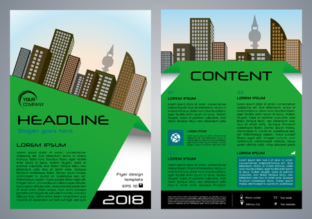 Vector flyer, corporate business, annual report, brochure design and cover presentation with green element.