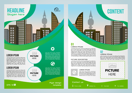 Vector flyer, corporate business, annual report, brochure design and cover presentation with blue and green elements.