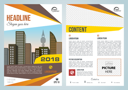 Vector flyer, corporate business, annual report, brochure design and cover presentation with red and orange elements.