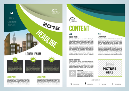 Vector flyer, corporate business, annual report, brochure design and cover presentation with green and blue waves. Ilustração