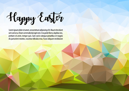Happy easter abstract colorful vector polygon ilustration