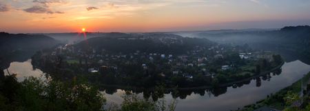 Panoramatic view to Vltava meander, horseshoe in sunrise, Czech republic Reklamní fotografie