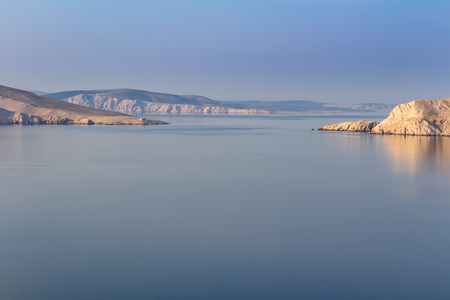 Nice calm sea with mountains, island Krk, Croatia Stock Photo