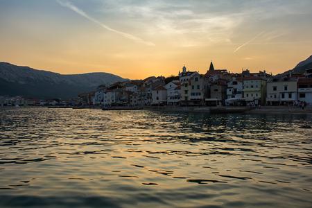 Sunset on village Baska, island Krk Croatia Stock Photo