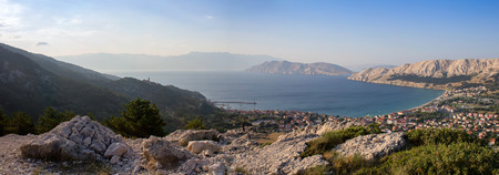 Panoramatic view to city Baska with sea, Croatia