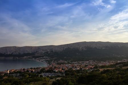 Small city Baska with sea, Croatia island Krk Stock Photo