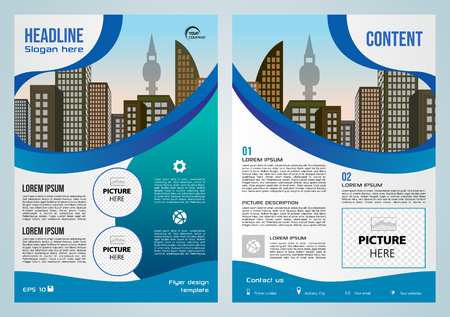 Vector flyer, corporate business, annual report, brochure design and cover presentation with blue elements.