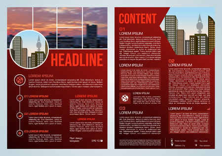 Vector flyer, corporate business, annual report, brochure design and cover presentation with blured city in red color