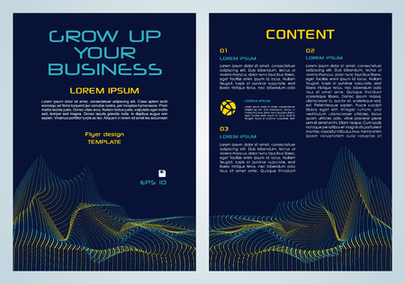 Vector flyer, corporate business, annual report, brochure design and cover presentation with yellow and blue dotted element. Illustration