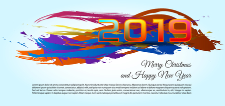 Happy new year and merry christmas 2019 color splash vector, light background