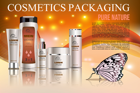 Vector cosmetics template with shower gel, creme tube, and creme box soap in orange color with butterfly