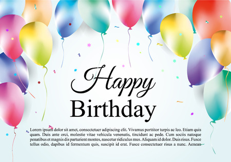 Birthday template with colorful balloons on gradient blue background