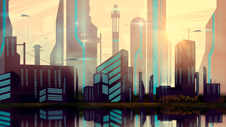 Sci-fi city with spaceship and river, digital painting