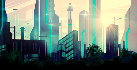 Sci-fi city with spaceship and trees Banco de Imagens