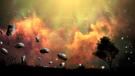 Space scene. Firing nebula with land, tree silhouette and asteroid. 3D rendering
