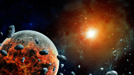 Space scene.Colorful nebula with destroyed planet and asteroid.   3D rendering