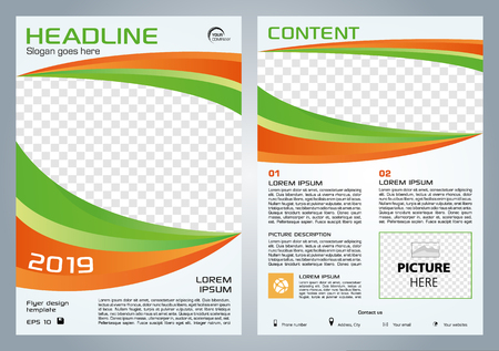 Vector flyer, corporate business, annual report, brochure design and cover presentation with green and orange shape. Illustration