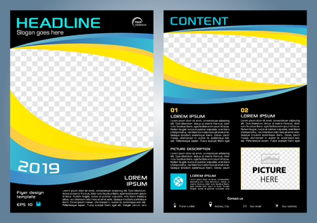 Vector flyer, corporate business, annual report, brochure design and cover presentation with blue and yellow shape.