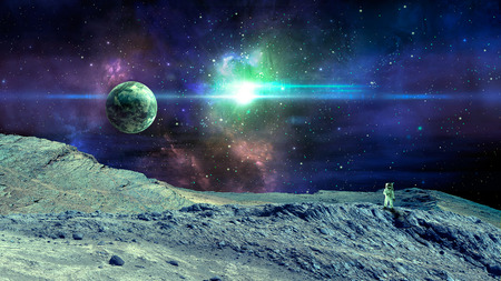 Space scene. Colorful nebula with planet, land and astronaut.