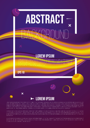 Abstract background, flyer with 3d flow shape in violet color. Liquid wave with ball