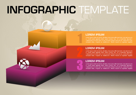 Modern colorful infographics options template vector with 3D stairs in red color