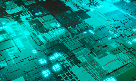 Abstract high tech electronic PCB (Printed circuit board) background in cyan color. 3d illustration Standard-Bild - 119804235