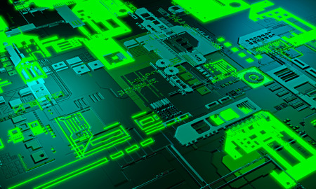 Abstract high tech electronic PCB (Printed circuit board) background in green color. 3d illustration Standard-Bild - 119804286