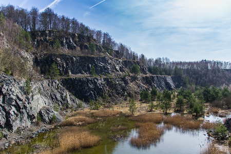 Swamped quarry with high dry grass, small pond, rock, Czech republic