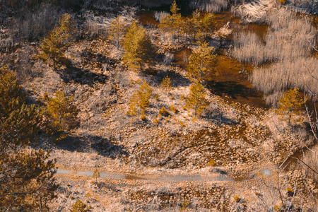 Aerial view to swamped quarry with high dry grass, trees and pond, Czech republic, teal orange colored 스톡 콘텐츠