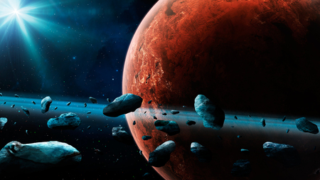 Space scene. Mars planet with asteroid ring.   3D rendering
