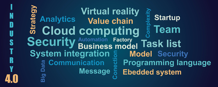 Vector background word cloud with terms about industry 4.0 in blue color, flat style 矢量图像