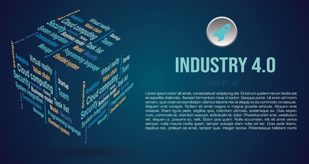 Vector background word cloud in 3D cube with terms about industry 4.0 in blue color