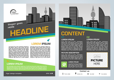 Vector flyer, corporate business, annual report, brochure design and cover presentation with green and blue rectangle.