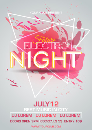 Party electro night colorful flyer template vector with red splash and triangle