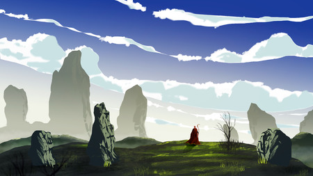Magician on red coat walk in meadow with big stone, tree and cloudy sky. Digital painting, 3D rendering