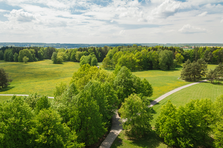 Aerial panoramatic view to nice meadow, trees and footpath, Czech landscape Reklamní fotografie