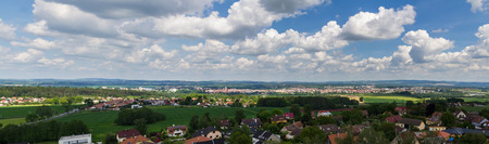 Panoramatic view to city Tabor with cloudy sky. Czech republic 版權商用圖片