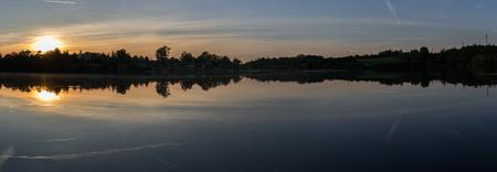 Panoramatic view to pond Jordan at sunset in city Tabor, Czech republic Reklamní fotografie