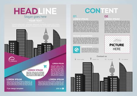 Vector flyer, corporate business, annual report, brochure design and cover presentation with vector city and blue line