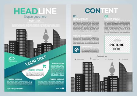 Vector flyer, corporate business, annual report, brochure design and cover presentation with vector city and cyan line