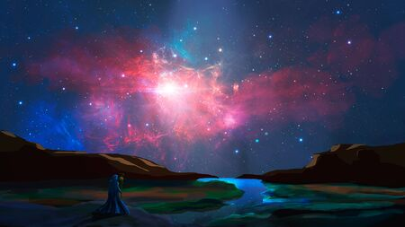 Magician stand in cci-fi landscape with river, rock and colorful nebula, digital painting. 写真素材