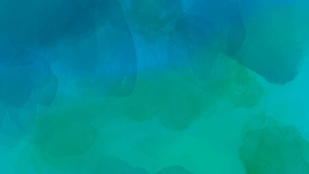 Abstract watercolor background in blue and green color. Brush stroke illustration