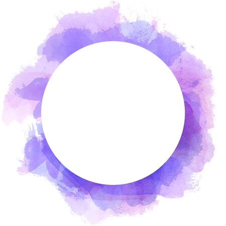 Abstract watercolor circle background in violet and blue color. Brush stroke illustration with circle white copy space