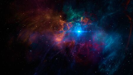 Space scene. Colorful fractal nebula with stars and blue light.