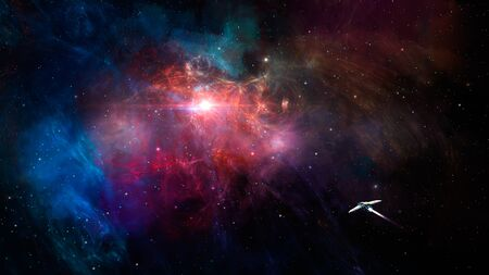 Space scene. Spaceship fly in colorful fractal nebula.