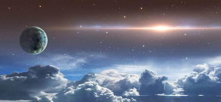 Space scene. Star sky with clouds, planet and lens flare.